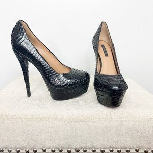 Rachel Zoe Black Snakeskin Heel Stiletto Pump 6.5
